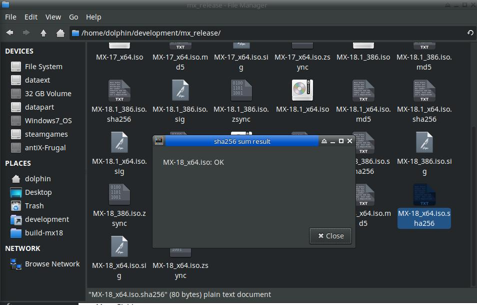 Checking integrity of downloaded iso files  – MX Linux